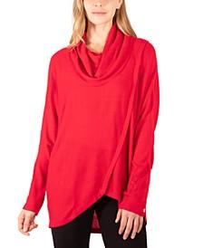 Faux-Wrap Cowl-Neck Sweater