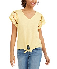 Eyelet-Sleeve Tie-Front Top, Created for Macy's