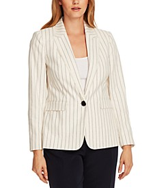 Striped Fringed-Trim Blazer