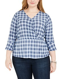 Plus Size Plaid Bell-Sleeve Top