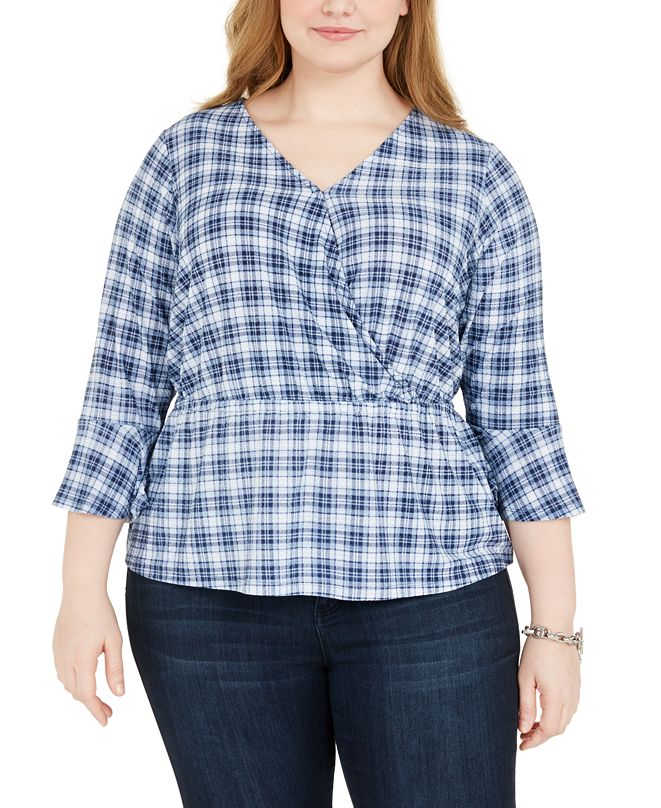 Michael Kors Plus Size Plaid Bell-Sleeve Top