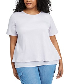 Plus Size Layered Split-Back Top