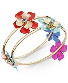 INC Gold-Tone 2-Pc. Set Flower Bangle Bracelets, Created for Macy's