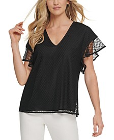 Flutter-Sleeve Mesh Top