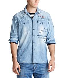 Men's Stenciled Chambray Shirt