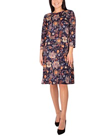 Petite Floral-Print Grommet-Detail Dress