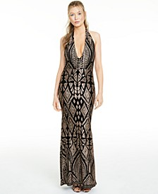 Juniors' Slim Glitter Halter Gown