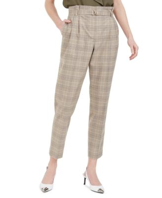 Plaid Paperbag-Waist Pants