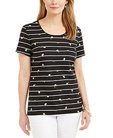 Karen Scott Lemon Stripe Scoop-Neck Top, Created for Macy's