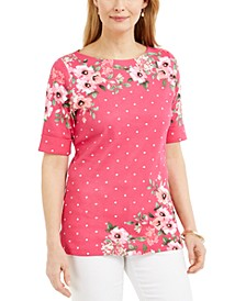 Petite Mixed-Print Boat-Neck Top, Created for Macy's