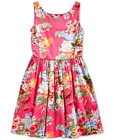 Big Girls Floral Cotton Sateen Dress