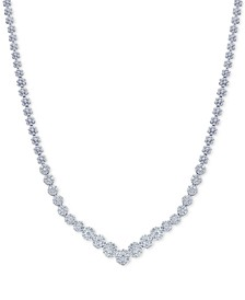 Diamond V Fancy Collar Necklace (3 ct. t.w.) in 14k White Gold