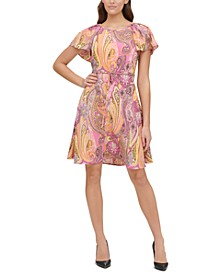 Petite Paisley-Print Double-Twill Fit & Flare Dress