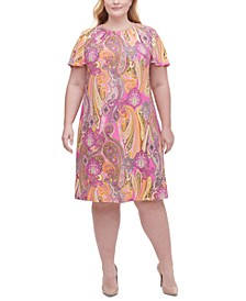 Plus Size Paisley-Print A-Line Dress