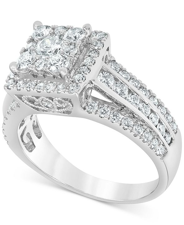 Macy's Diamond Halo Three Row Engagement Ring (1-1/2 ct. t.w.) in 14k White Gold