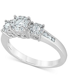 Diamond Halo Three Stone Engagement Ring (1/2 ct. t.w.) in 14k White Gold