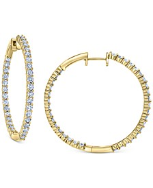 Diamond Small In & Out Hoop Earrings (1/2 ct. t.w.) in 14k Gold, 0.7""