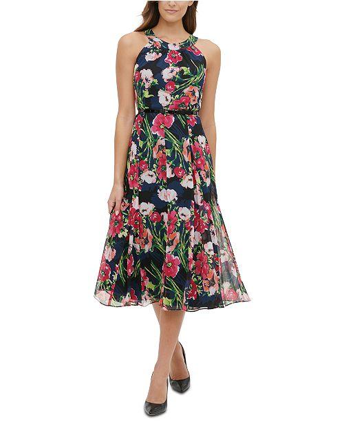 Tommy Hilfiger Belted Floral-Print Chiffon Halter Dress
