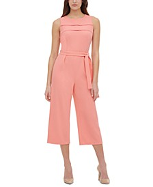 Circle-Trim Scuba Crepe Midi Jumpsuit