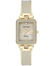 Women's Diamond Accent Tan & Gold-Tone Bangle Bracelet Watch 22x34mm