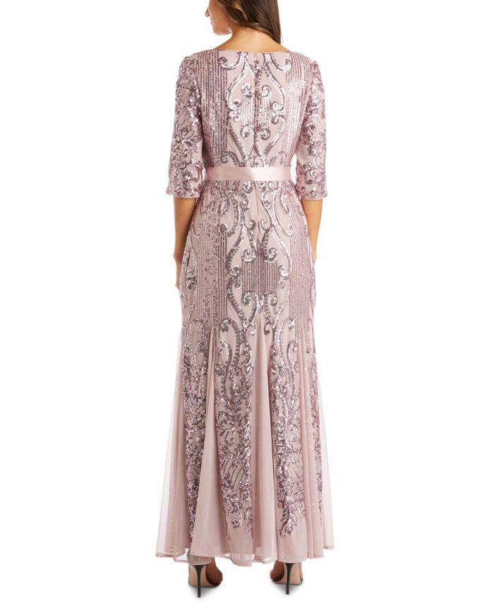 R & M Richards Embellished Godet-Hem Gown & Reviews - Dresses - Women - Macy's