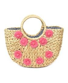 Front Floral Design Handmade Straw Bag