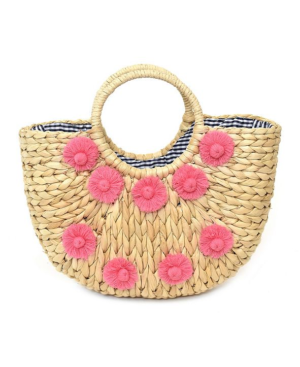 Imoshion Handbags Front Floral Design Handmade Straw Bag