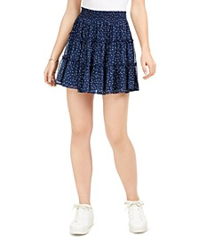 Juniors' Dot Flounce Mini Skirt
