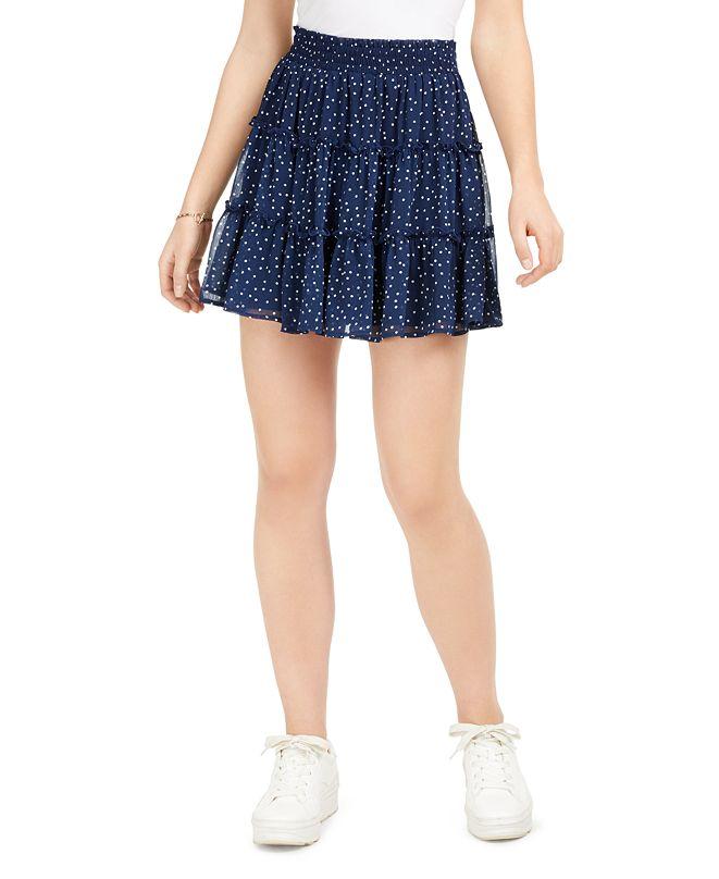 BCX Juniors' Dot Flounce Mini Skirt