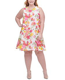 Plus Size Lucia Floral-Print Chiffon Trapeze Dress
