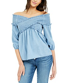 INC Smocked Off-The-Shoulder Top, Created for Macy's
