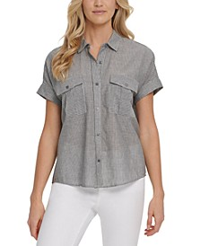 Striped Cotton Button-Front Blouse