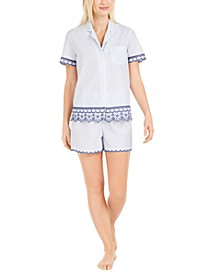 Cotton Embroidered Stripe Shorts Pajamas Set, Created for Macy's