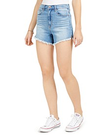 Juniors' High-Rise Raw-Edge Denim Shorts