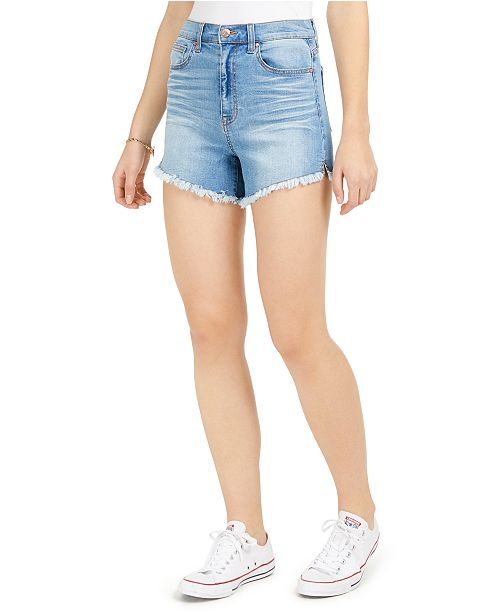 Celebrity Pink Juniors' High-Rise Raw-Edge Denim Shorts