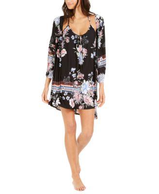 Floral Boarder Print Wrap Robe