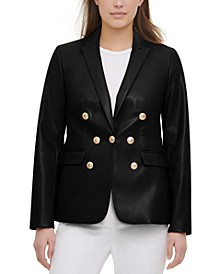 Faux-Leather Blazer