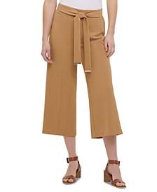 Tie-Belt Culotte Pants