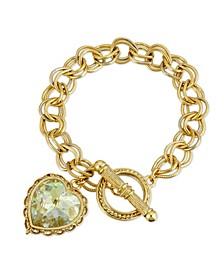 Swarovski Crystal Aurora Borealis Heart Charm Toggle Bracelet