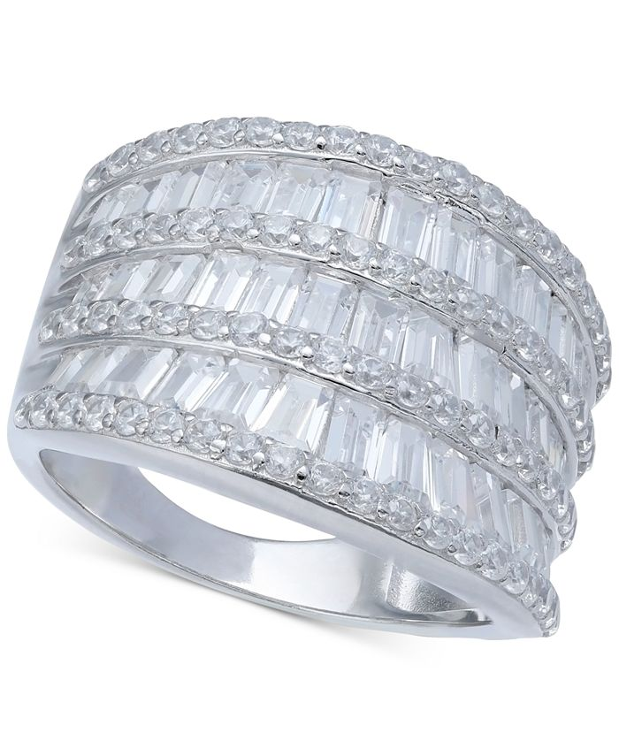 Macy's - Cubic Zirconia Three Row Baguette Statement Ring in Sterling Silver