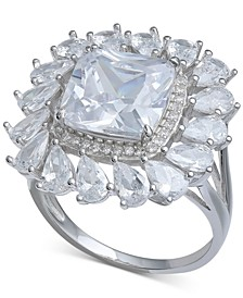 Cubic Zirconia Cushion & Pear Halo Statement Ring in Sterling Silver
