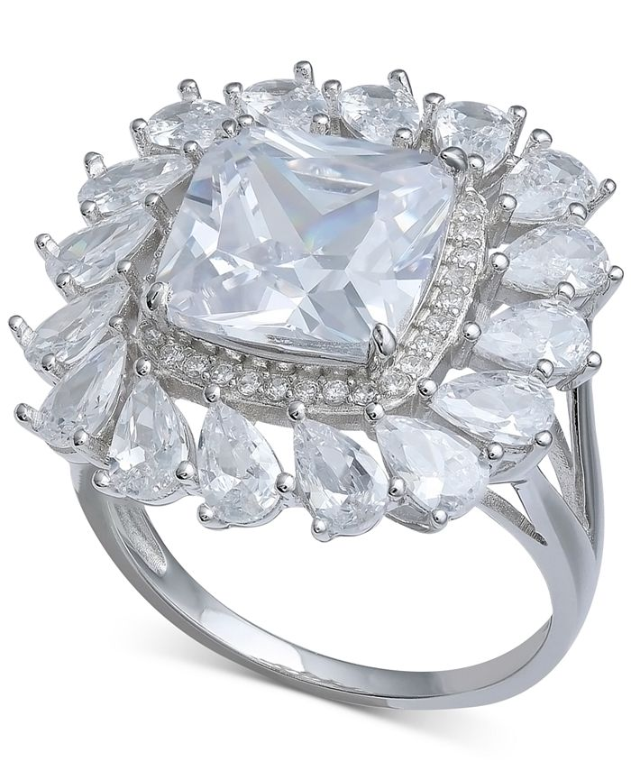 Macy's - Cubic Zirconia Cushion & Pear Halo Statement Ring in Sterling Silver