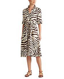 Animal-Print Fit-And-Flare Shirtdress