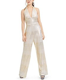 Juniors' Metallic Ribbed Jumpsuit