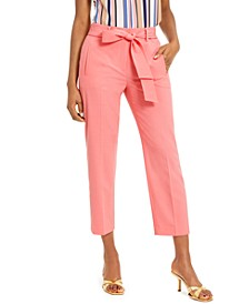 Bi-Stretch Belted Tie Ankle Pants, Created For Macy's