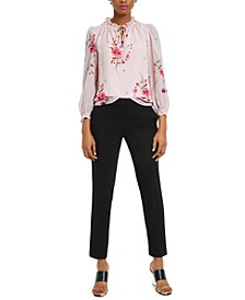 Floral-Print Blouse and Straight-Leg Pants, Created For Macy's
