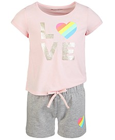Little Girls 2-Pc. Printed T-Shirt & Shorts Set, Created for Macy's