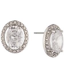 Silver-Tone Cubic Zirconia Oval Stud Earrings