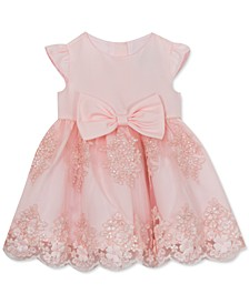 Baby Girls Satin-Bodice Embroidered-Skirt Dress