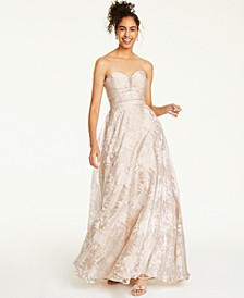 Juniors' Embellished Floral Burnout Strapless Gown, Created For Macy's